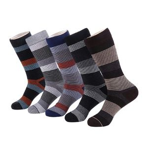 Mens Striped Cotton Blend Crew Dress Socks 5pk